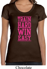 Ladies Fitness Shirt Train Hard Win Easy Scoop Neck Tee T-Shirt