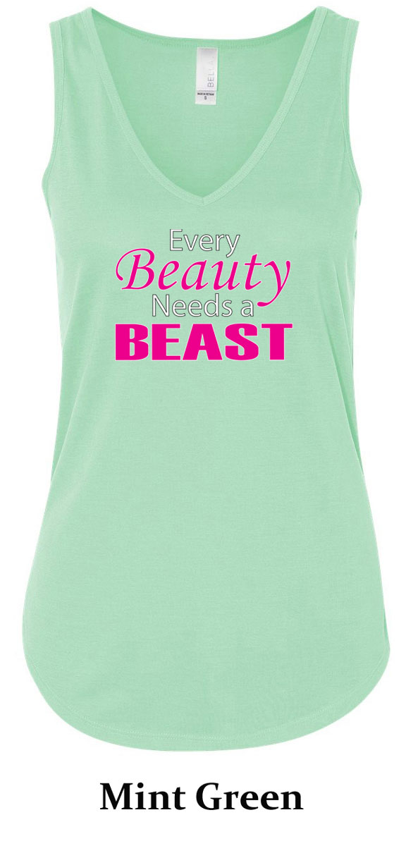 Ladies Fitness Tanktop Every Beauty Needs A Beast Flowy V