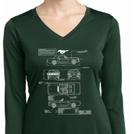 Ladies Ford Mustang Blue Print Dry Wicking Long Sleeve