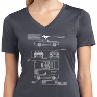 Ladies Ford Mustang Blue Print Dry Wicking V-neck