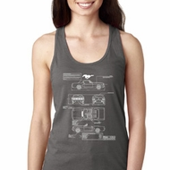 Ladies Ford Mustang Blue Print Ideal Racerback