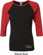 Ladies Ford Mustang with Grill Bottom Print Black Red Raglan Shirt