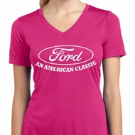 Ladies Ford Shirt An American Classic Moisture Wicking V-neck Shirt