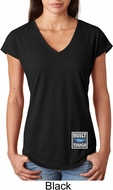 Ladies Ford Shirt Built Ford Tough Bottom Print Tri Blend V-Neck Shirt