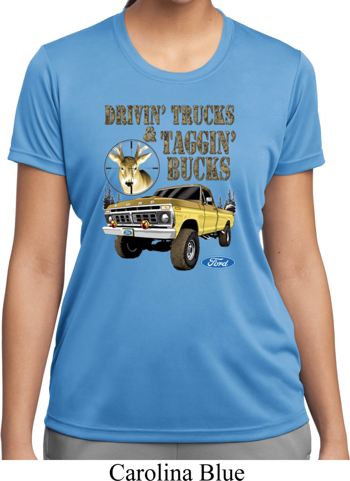 Ladies ford shirt driving and tagging bucks moisture for Two bucks t shirts