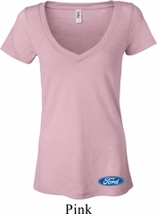 Ladies Ford Shirt Ford Oval Bottom Print Burnout V-neck Tee T-Shirt