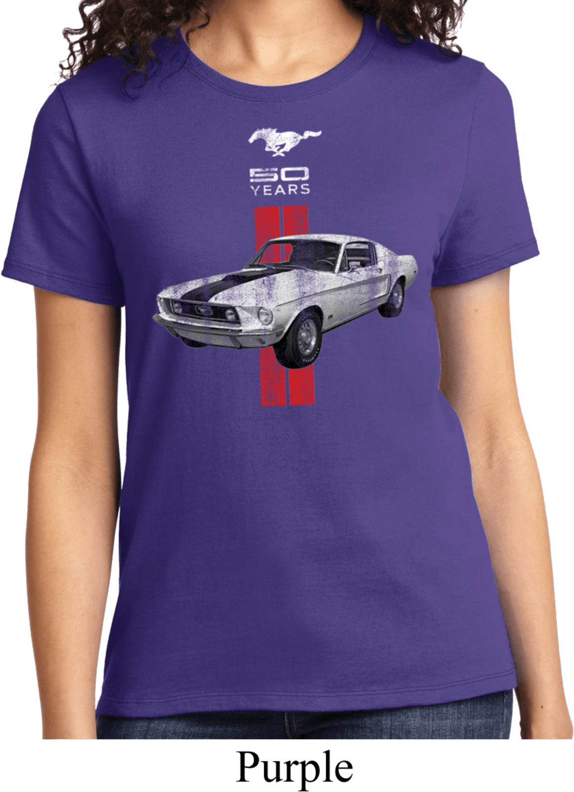 ladies ford shirt red stripe mustang 50 years tee t shirt. Black Bedroom Furniture Sets. Home Design Ideas