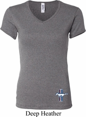 Ladies Ford Shirt The Legend Lives Crest Bottom Print V-neck T-Shirt