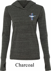 Ladies Ford Shirt The Legend Lives Crest Tri Blend Hoodie Tee T-Shirt