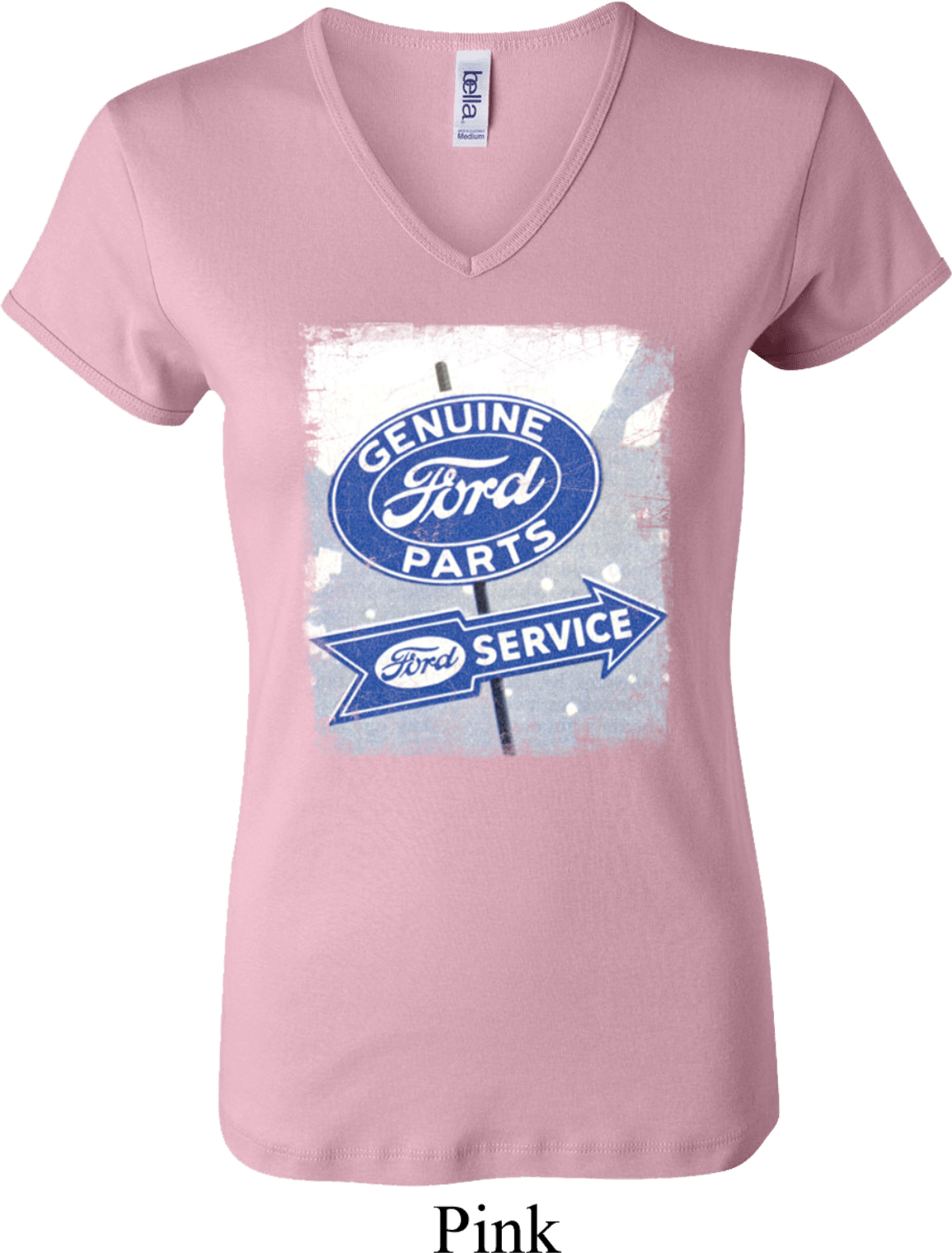 Ladies Ford Shirt Vintage Sign Genuine Ford Parts V-Neck -5685