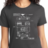 Ladies Ford Tee Mustang Blue Print T-shirt