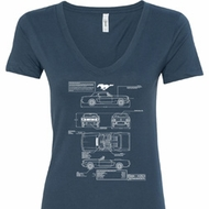 Ladies Ford Tee Mustang Blue Print V-Neck