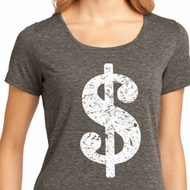 Ladies Funny Shirt Distressed Dollar Sign Lace Back Tee T-Shirt