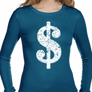 Ladies Funny Shirt Distressed Dollar Sign Long Sleeve Thermal T-Shirt