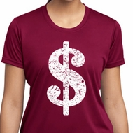 Ladies Funny Shirt Distressed Dollar Sign Moisture Wicking Tee T-Shirt