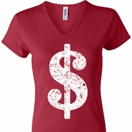 Ladies Funny Shirt Distressed Dollar Sign V-neck Tee T-Shirt