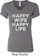 Ladies Funny Shirt Happy Wife Happy Life V-neck Tee T-Shirt