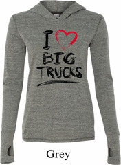 Ladies Funny Shirt I Love Big Trucks Grey Tri Blend Hoodie Tee T-Shirt