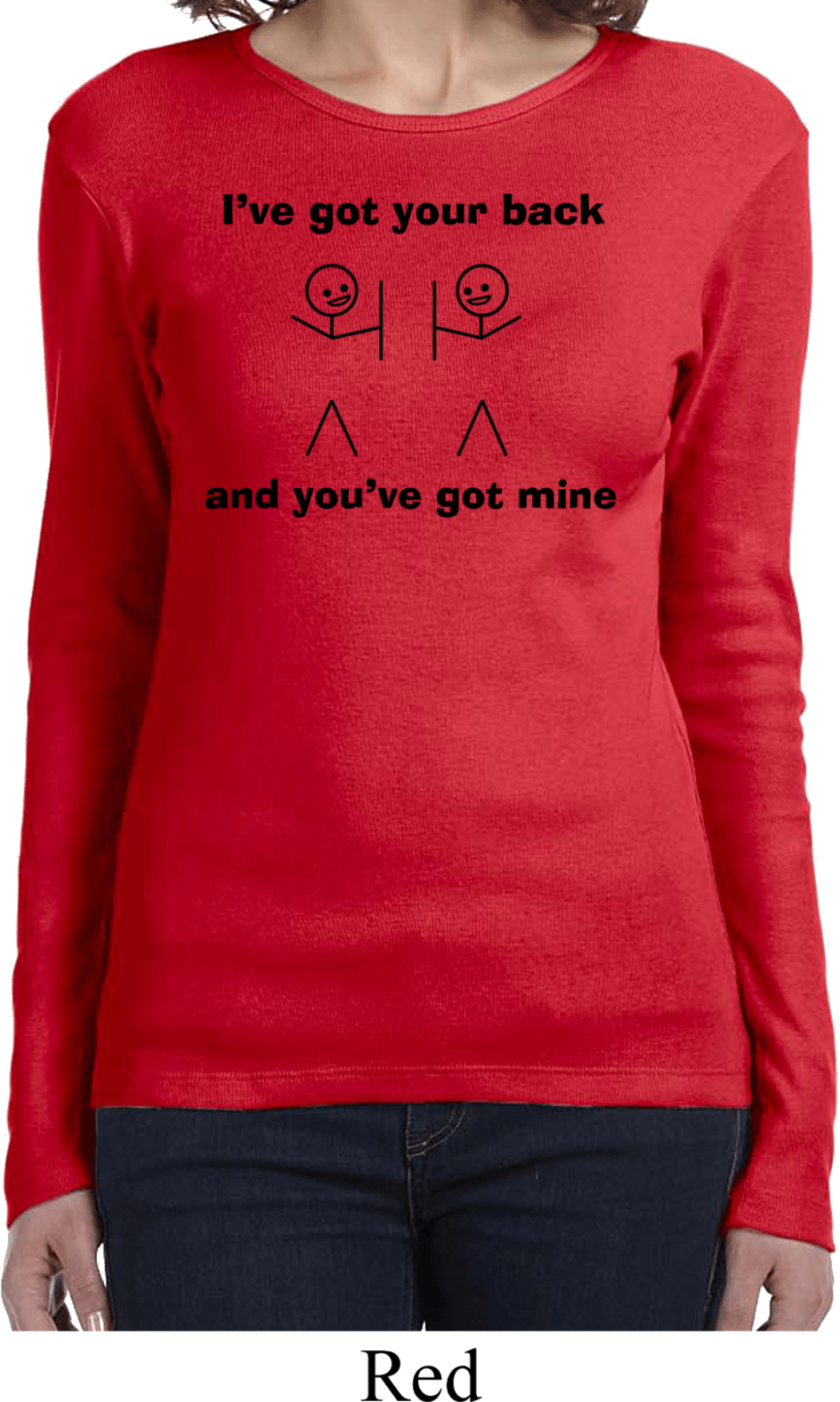 Ladies funny shirt i 39 ve got your back long sleeve tee t for Misses long sleeve tee shirts