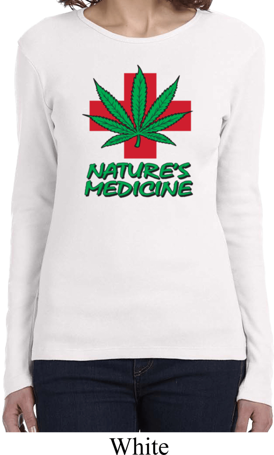 Ladies funny shirt natures medicine long sleeve tee t for Misses long sleeve tee shirts