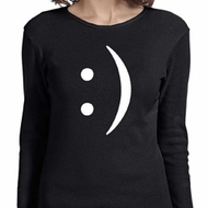 Ladies Funny Shirt Smiley Chat Face Long Sleeve Tee T-Shirt