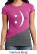 Ladies Funny Shirt Smiley Chat Face Tri Blend Crewneck Tee T-Shirt