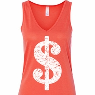 Ladies Funny Tanktop Distressed Dollar Sign Flowy V-neck Tank Top