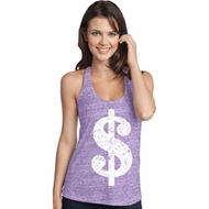 Ladies Funny Tanktop Distressed Dollar Sign T-Back Tank Top