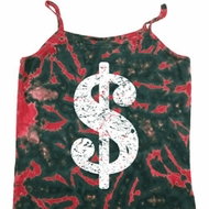 Ladies Funny Tanktop Distressed Dollar Sign Tie Dye Camisole Tank Top