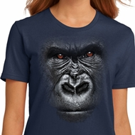 Ladies Gorilla Shirt Big Gorilla Face Organic T-Shirt