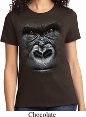 Ladies Gorilla Shirt Big Gorilla Face Tee T-Shirt