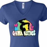 Ladies Gymnast Shirt Neon Gymnastics V-neck Tee T-Shirt