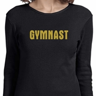 Ladies Gymnastics Shirt Gold Shimmer Gymnast Long Sleeve Tee T-Shirt