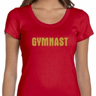 Ladies Gymnastics Shirt Gold Shimmer Gymnast Scoop Neck Tee T-Shirt