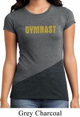 Ladies Gymnastics Shirt Gold Shimmer Gymnast Tri Blend Crewneck Tee