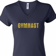 Ladies Gymnastics Shirt Gold Shimmer Gymnast V-neck Tee T-Shirt