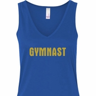 Ladies Gymnastics Tanktop Gold Shimmer Gymnast Flowy V-neck Tank Top