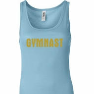 Ladies Gymnastics Tanktop Gold Shimmer Gymnast Longer Length Tank Top
