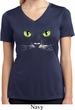 Ladies Halloween Shirt Black Cat Moisture Wicking V-neck Tee T-Shirt