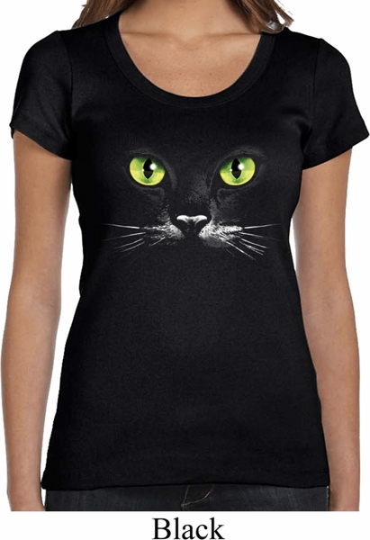 ladies halloween shirt black cat scoop neck tee t shirt - Halloween Shirts For Ladies