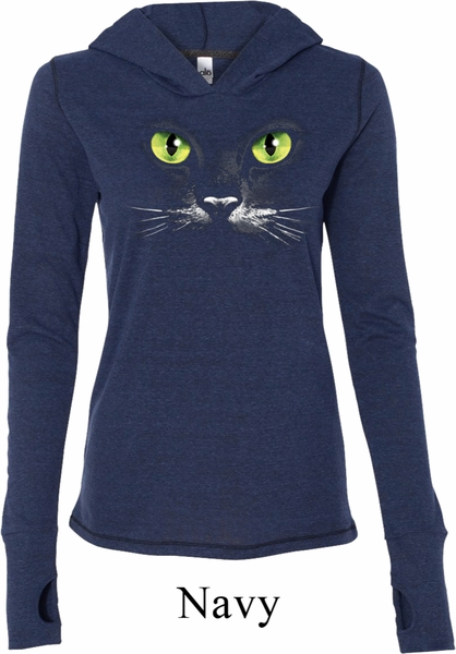 ladies halloween shirt black cat tri blend hoodie tee t shirt - Halloween Shirts For Ladies
