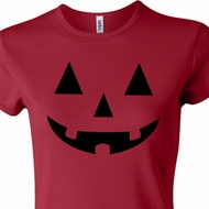 Ladies Halloween Shirt Black Jack O Lantern Crewneck Tee T-Shirt