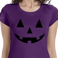 Ladies Halloween Shirt Black Jack O Lantern Longer Length Tee T-Shirt