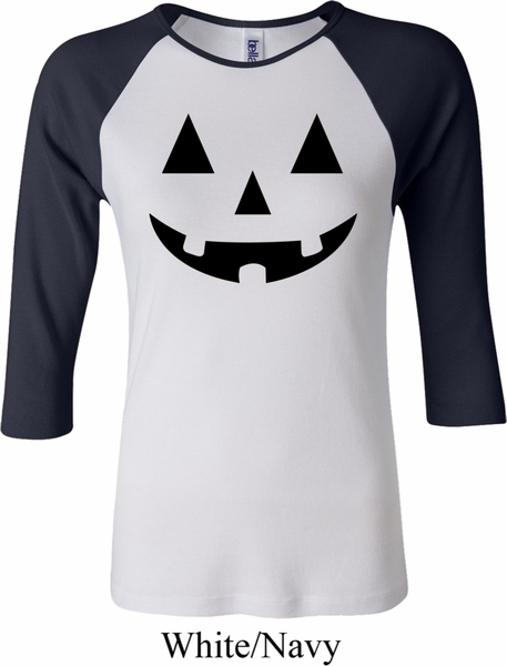 ladies halloween shirt black jack o lantern raglan tee t shirt - Halloween Shirts For Ladies
