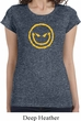 Ladies Halloween Shirt Evil Smiley Face Longer Length Tee T-Shirt