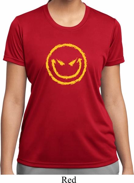 ladies halloween shirt evil smiley face moisture wicking tee t shirt - Halloween Shirts For Ladies