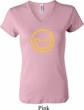 Ladies Halloween Shirt Evil Smiley Face V-neck Tee T-Shirt