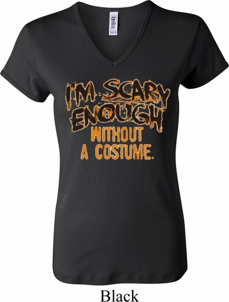 ladies halloween shirt scary enough v neck tee t shirt - Halloween Shirts For Ladies