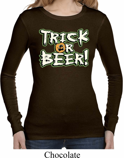 ladies halloween shirt trick or beer long sleeve thermal tee t shirt - Halloween Shirts For Ladies