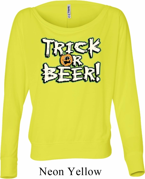 ladies halloween shirt trick or beer off shoulder tee t shirt - Halloween Shirts For Ladies